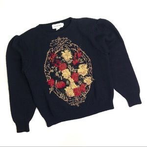 Vintage Navy Floral Poof Sleeve Sweater Medium